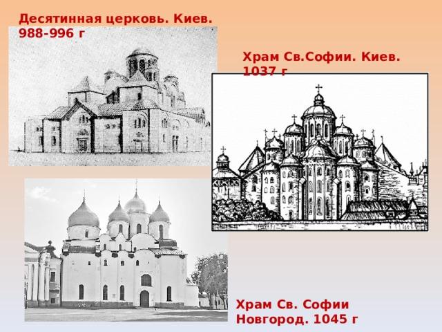 Десятинная церковь. Киев. 988-996 г Храм Св.Софии. Киев. 1037 г Храм Св. Софии Новгород. 1045 г