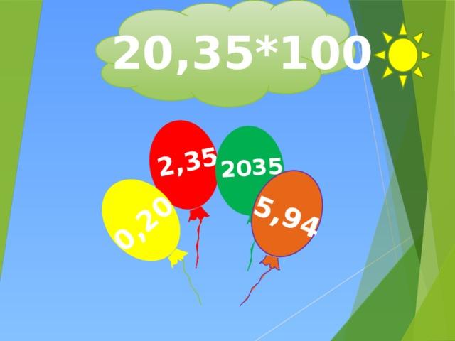 2,35 0,20 2035 5,94 20,35*100