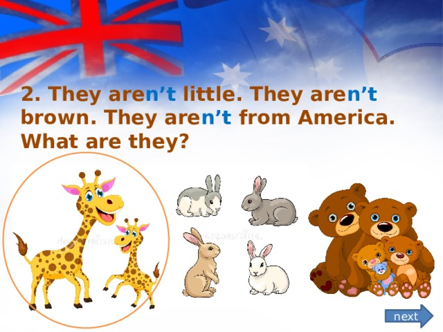 2. They are n't little. They are n't brown. They are n't from America. What are they?  next