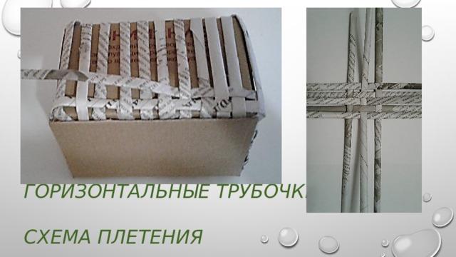 Начинаем вплетать  горизонтальные трубочки  схема плетения