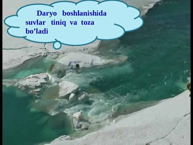 Daryo boshlanishida suvlar tiniq va toza bo'ladi