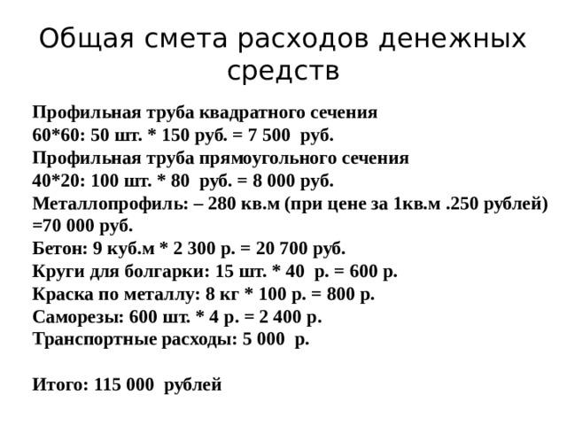 Общая смета расходов денежных средств Профильная труба квадратного сечения 60*60: 50 шт. * 150 руб. = 7 500 руб. Профильная труба прямоугольного сечения 40*20: 100 шт. * 80 руб. = 8 000 руб. Металлопрофиль: – 280 кв.м (при цене за 1кв.м .250 рублей) =70 000 руб. Бетон: 9 куб.м * 2 300 р. = 20 700 руб. Круги для болгарки: 15 шт. * 40 р. = 600 р. Краска по металлу: 8 кг * 100 р. = 800 р. Саморезы: 600 шт. * 4 р. = 2 400 р. Транспортные расходы: 5 000 р.  Итого: 115 000 рублей