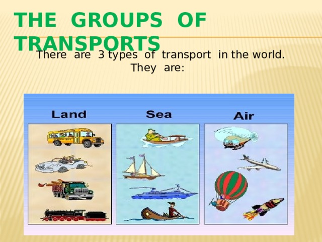 The groups of transports There are 3 types of transport in the world. They are: