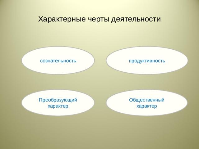 Характерные черты деятельности сознательность продуктивность Преобразующий характер Общественный характер