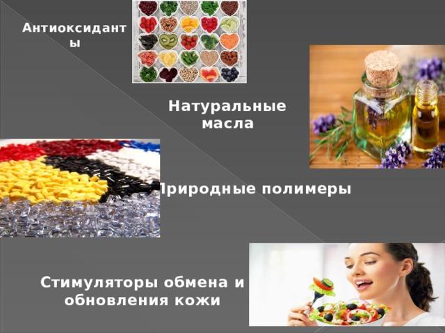 Антиоксиданты Натуральные масла Природные полимеры Стимуляторы обмена и обновления кожи