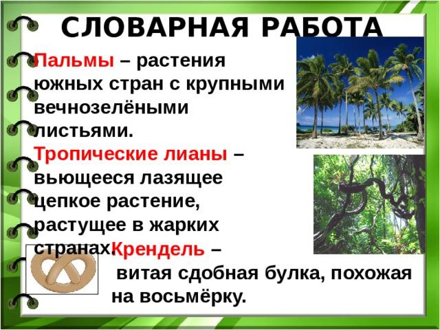 СЛОВАРНАЯ РАБОТА Пальмы – растения южных стран с крупными вечнозелёными листьями. Тропические лианы – вьющееся лазящее цепкое растение, растущее в жарких странах. Крендель –  витая сдобная булка, похожая на восьмёрку.