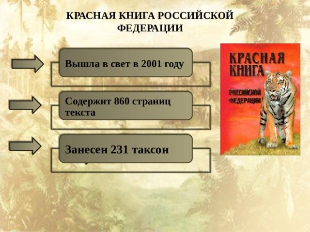 КРАСНАЯ КНИГА РОССИЙСКОЙ ФЕДЕРАЦИИ Вышла в свет в 2001 году Содержит 860 страниц текста Занесен 231 таксон
