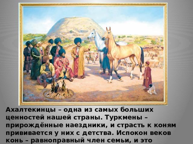 Ахалтекинцы – одна из самых больших ценностей нашей страны. Туркмены – прирождённые наездники, и страсть к коням прививается у них с детства. Испокон веков конь – равноправный член семьи, и это отношение к нему столетиями передаётся из поколения в поколение.