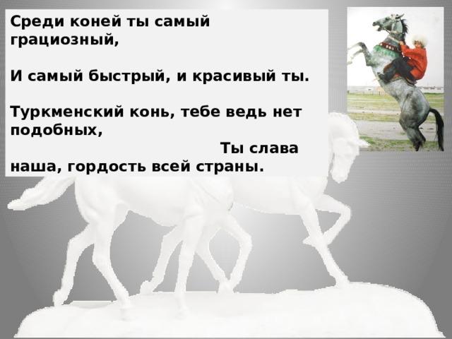Среди коней ты самый грациозный, И самый быстрый, и красивый ты. Туркменский конь, тебе ведь нет подобных, Ты слава наша, гордость всей страны.