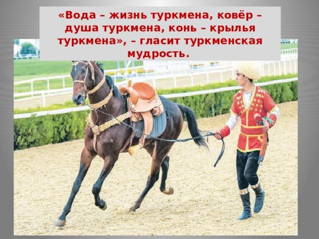 «Вода – жизнь туркмена, ковёр – душа туркмена, конь – крылья туркмена», – гласит туркменская мудрость.