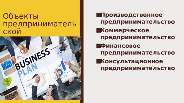 Объекты предпринимательской деятельности