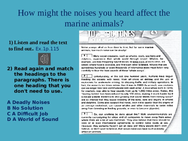 How might the noises you heard affect the marine animals? 1) Listen and read the text to find out .  Ex.1p.115 Read again and match the headings to the paragraphs. There is one heading that you don't need to use.   A Deadly Noises  B No Solution  C A Difficult Job  D A World of Sound