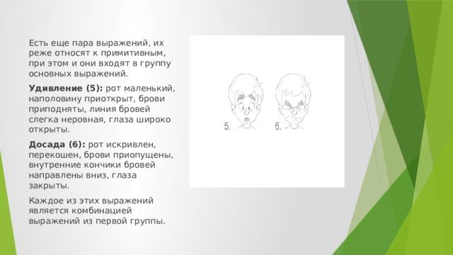 Есть еще пара выражений, их реже относят к примитивным, при этом и они входят в группу основных выражений. Удивление (5): рот маленький, наполовину приоткрыт, брови приподняты, линия бровей слегка неровная, глаза широко открыты. Досада (6): рот искривлен, перекошен, брови приопущены, внутренние кончики бровей направлены вниз, глаза закрыты. Каждое из этих выражений является комбинацией выражений из первой группы.