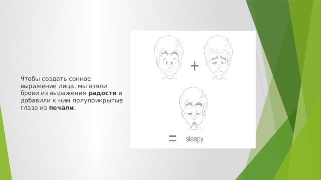 Чтобы создать сонное выражение лица, мы взяли брови из выражения радости и добавили к ним полуприкрытые глаза из печали .