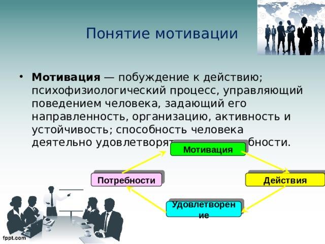 Понятие мотивации Мотивация — побуждение к действию; психофизиологический процесс, управляющий поведением человека, задающий его направленность, организацию, активность и устойчивость; способность человека деятельно удовлетворять свои потребности. Мотивация Потребности Действия Удовлетворение