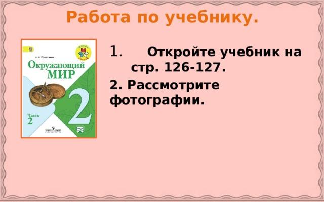 Работа по учебнику.  Откройте учебник на стр. 126-127. 2. Рассмотрите фотографии.