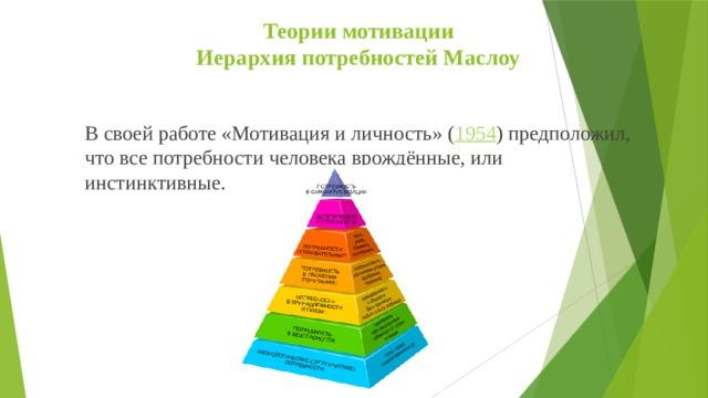 Теории мотивации  Иерархия потребностей Маслоу   В своей работе «Мотивация и личность» ( 1954 )предположил, что все потребности человека врождённые, или инстинктивные.