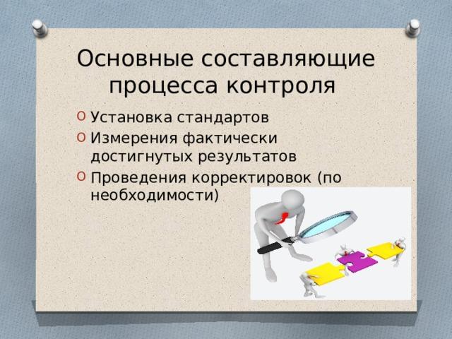 Основные составляющие процесса контроля