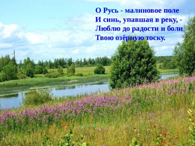 О Русь - малиновое поле  И синь, упавшая в реку, -  Люблю до радости и боли  Твою озёрную тоску.