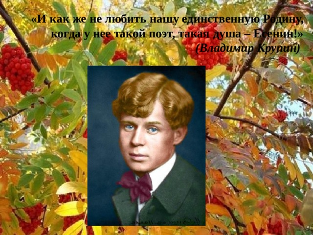 «И как же не любить нашу единственную Родину, когда у нее такой поэт, такая душа – Есенин!» (Владимир Крупин)