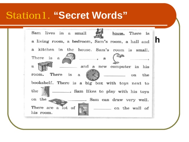 """Station1. """"Secret Words""""  Name the words beginning with   """" b"""""""