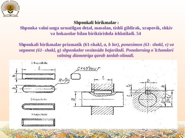 Shponkali birikmalar : Shponka valni unga urnatilgan detal, masalan, tishli gildirak, xrapovik, shkiv va hokazolar bilan biriktirishda ishlatiladi. 54  Shponkali birikmalar prizmatik (61-shakl, a, b lar), ponasimon (61- shakl, v) va segment (61- shakl, g) shponkalar vositasida bajariladi. Ponalarning o`lchamlari valning diametriga qarab tanlab olinadi.