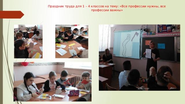 Праздник труда для 1 – 4 классов на тему: «Все профессии нужны, все профессии важны»