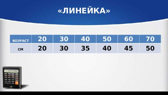«ЛИНЕЙКА»  ВОЗРАСТ 20  30 СМ 20 40 30 50 35 60 40 70 45 50