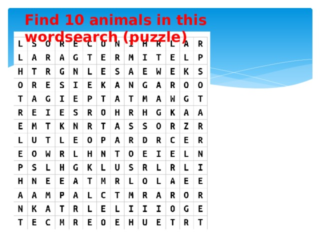 Find 10 animals in this wordsearch (puzzle)
