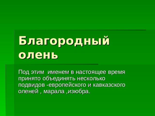 Благородный олень Под этим именем в настоящее время принято объединять несколько подвидов -европейского и кавказского оленей , марала ,изюбра.
