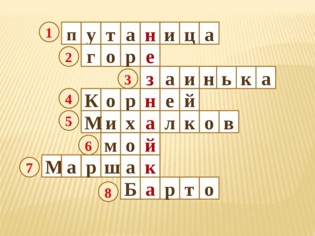 п ц у а 1 и т а н г е р о 2 к а ь н а з и 3 е й К о р н 4 М 5 к и л х о в а й м о 6 р ш а к М а 7 т Б а р о 8