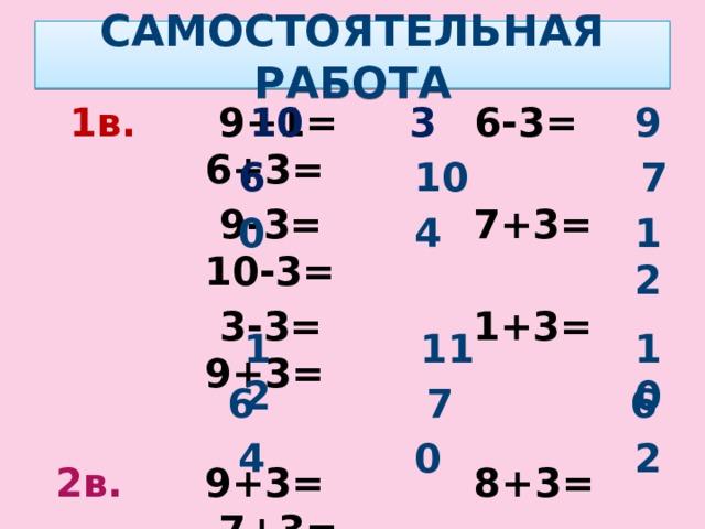 САМОСТОЯТЕЛЬНАЯ РАБОТА 10 3 9   1в. 9+1= 6-3= 6+3=   9-3= 7+3= 10-3=  3-3= 1+3= 9+3=   2в. 9+3= 8+3= 7+3=  8-2= 10-3= 9-3=  1+3= 3-3= 5-3= 10 7 6 0 4 12 11 10 12 7 6 6 4 0 2