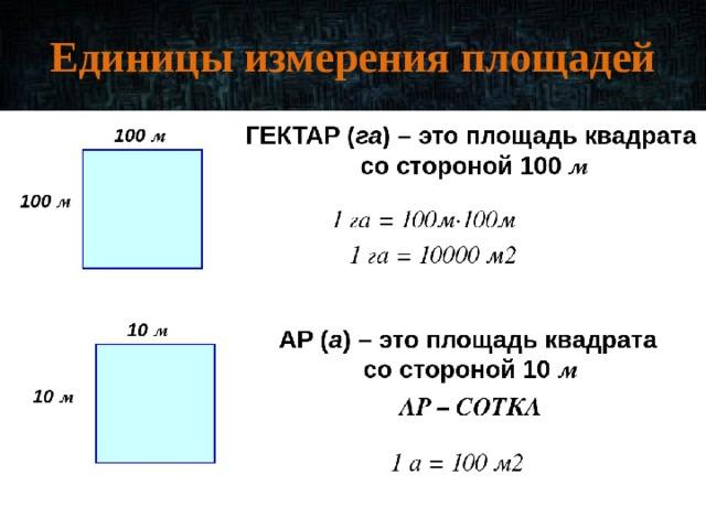Единицы измерения площадей