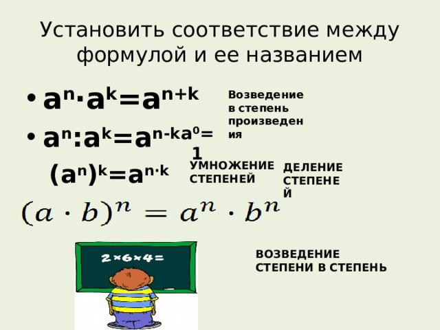 ВОЗВЕДЕНИЕ СТЕПЕНИ В СТЕПЕНЬ a 0 =1 Установить соответствие между формулой и ее названием a n ·a k =a n+k a n :a k =a n-k Возведение в степень произведения (a n ) k =a n · k УМНОЖЕНИЕ СТЕПЕНЕЙ ДЕЛЕНИЕ СТЕПЕНЕЙ