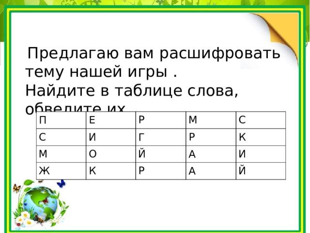 Предлагаю вам расшифровать тему нашей игры . Найдите в таблице слова, обведите их. П С Е М Р И Ж О М Г К Р Й С А К Р И А Й
