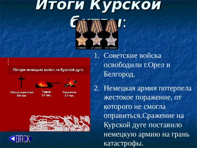 Итоги Курской битвы :