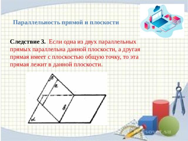 Следствие 2. Если одна из двух параллельных прямых параллельна данной плоскости, то другая прямая либо также параллельна данной плоскости, либо лежит  в этой плоскости. a II b b а a II Либо b b II 20