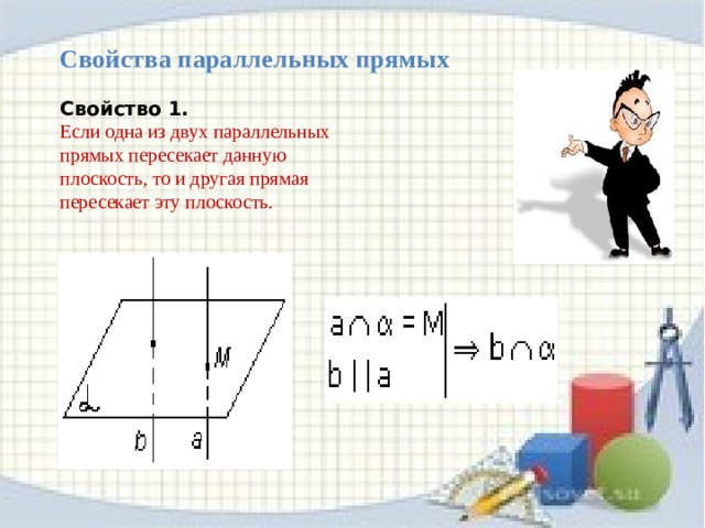 Лемма  о пересечении плоскости  параллельными прямыми.         Если одна из двух параллельных прямых пересекает данную плоскость, то и другая прямая пересекает эту плоскость