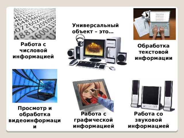 Универсальный объект – это… Работа с числовой информацией Обработка текстовой информации Просмотр и обработка видеоинформации Работа со звуковой информацией Работа с графической информацией