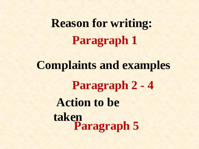 Reason for writing: Paragraph 1 Complaints and examples Paragraph 2 - 4  Action to be taken Paragraph 5
