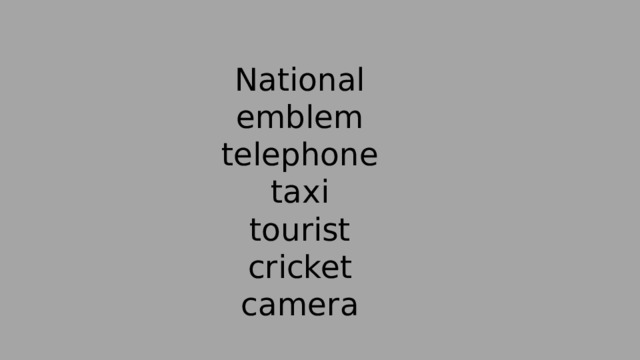 National  emblem  telephone  taxi  tourist  cricket  camera