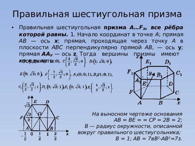 Правильная шестиугольная призма Правильная шестиугольная призма А…F Х , все рёбра которой равны. 1. Начало координат в точке А ; прямая АВ — ось х ; прямая, проходящая через точку А в плоскости АВС перпендикулярно прямой АВ , — ось у ; прямая АА У — ось z . Тогда вершины призмы имеют координаты: На выносном чертеже основания  АВ = ВЕ = = СР = 2В = 2;  В — радиус окружности, описанной вокруг правильного шестиугольника;  В = 1; АВ = 7вВ 2 -АВ 2 =7з.