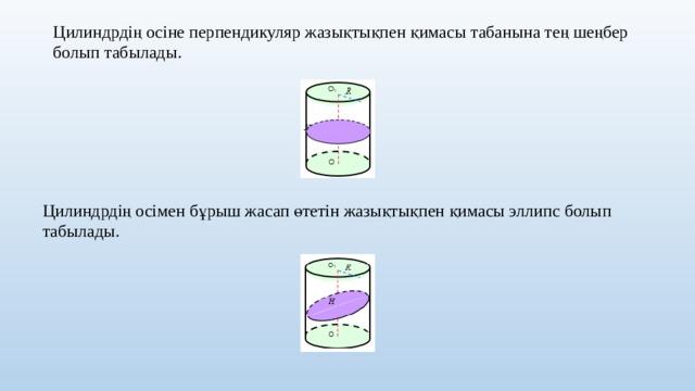 Цилиндрдің осіне перпендикуляр жазықтықпен қимасы табанына тең шеңбер болып табылады. Цилиндрдің осімен бұрыш жасап өтетін жазықтықпен қимасы эллипс болып табылады.
