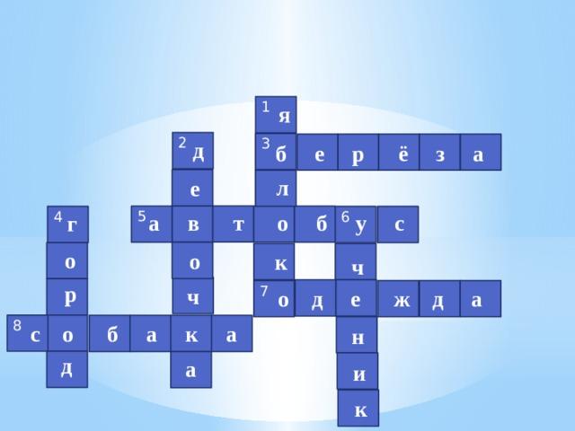 я 1 2 д 3 б е р ё з а л е а в т о б у с 5 г 4 6 о о к ч р ч 7  о д е ж д а 8 с о б а к а н д а и к