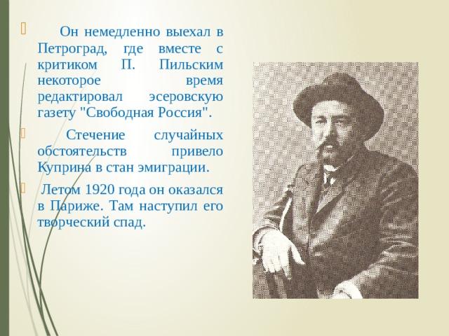 Он немедленно выехал в Петроград, где вместе с критиком П. Пильским некоторое время редактировал эсеровскую газету