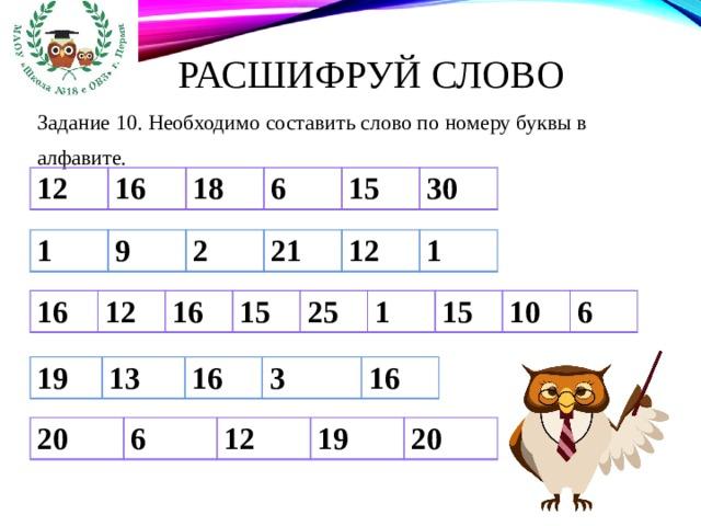 Расшифруй слово Задание 10. Необходимо составить слово по номеру буквы в алфавите. 12 16 18 6 15 30 1 9 2 21 12 1 16 12 16 15 25 1 15 10 6 19 13 16 3 16 20 6 12 19 20