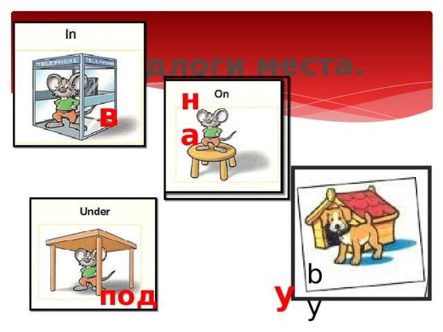 Предлоги места. на в by у под