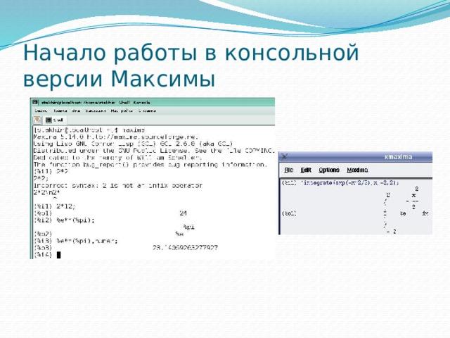 Начало работы в консольной версии Максимы