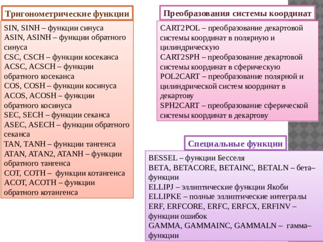 Преобразования системы координат Тригонометрические функции SIN, SINH – функции синуса ASIN, ASINH – функции обратного синуса CSC, CSCH – функции косеканса ACSC, ACSCH – функции обратного косеканса COS, COSH – функции косинуса ACOS, ACOSH – функции обратного косинуса SEC, SECH – функции секанса ASEC, ASECH – функции обратного секанса TAN, TANH – функции тангенса ATAN, ATAN2, ATANH – функции обратного тангенса COT, COTH – функции котангенса ACOT, ACOTH – функции обратного котангенса CART2POL – преобразование декартовой системы координат в полярную и цилиндрическую CART2SPH – преобразование декартовой системы координат в сферическую POL2CART – преобразование полярной и цилиндрической систем координат в декартову SPH2CART – преобразование сферической системы координат в декартову Специальные функции BESSEL – функции Бесселя BETA, BETACORE, BETAINC, BETALN – бета–функции ELLIPJ – эллиптические функции Якоби ELLIPKE – полные эллиптические интегралы ERF, ERFCORE, ERFC, ERFCX, ERFINV – функции ошибок GAMMA, GAMMAINC, GAMMALN – гамма–функции