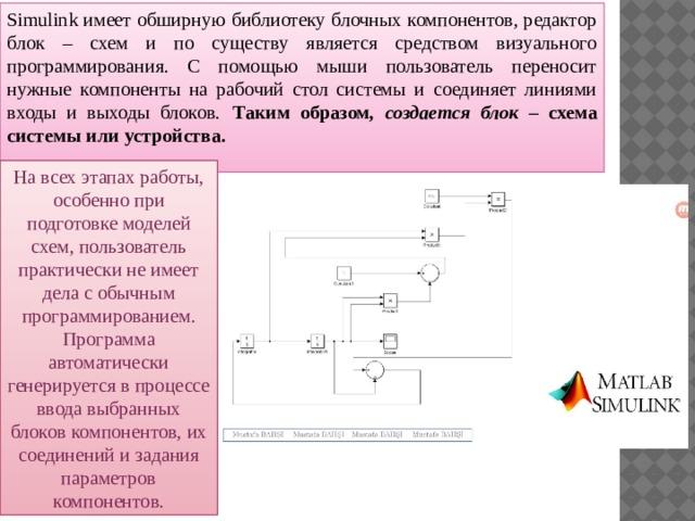 Simulink имеет обширную библиотеку блочных компонентов, редактор блок – схем и по существу является средством визуального программирования. С помощью мыши пользователь переносит нужные компоненты на рабочий стол системы и соединяет линиями входы и выходы блоков.  Таким образом , создается блок – схема системы или устройства. На всех этапах работы, особенно при подготовке моделей схем, пользователь практически не имеет дела с обычным программированием. Программа автоматически генерируется в процессе ввода выбранных блоков компонентов, их соединений и задания параметров компонентов.